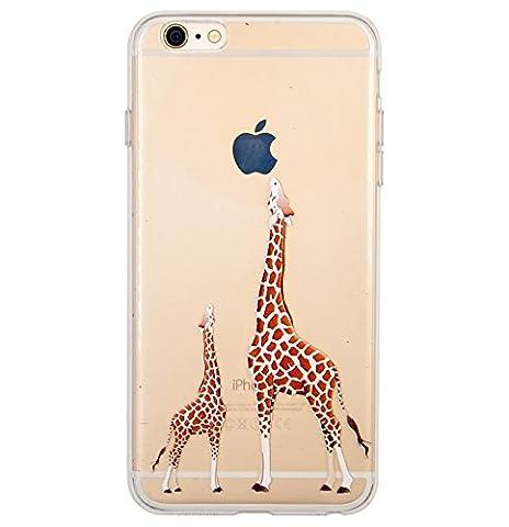 Coque iPhone 6 Plus, iPhone 6S Plus, OFFLY Transparente Souple Silicone TPU étui d' Protection, Cute et Motif Fantaisie pour Apple iPhone 6 Plus / 6S Plus - Deux Girafes