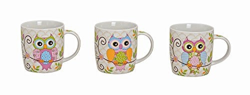 3-teiliges Tassen-Set mit Eulen-Aufdruck á 250 ml | Schöne Kaffeetassen mit buntem Tier-Motiv | Uhu-Teetassen mit Henkeln spülmaschinengeeignet | große Keramik-Tassen | Henkeltassen als Geschenk-Idee