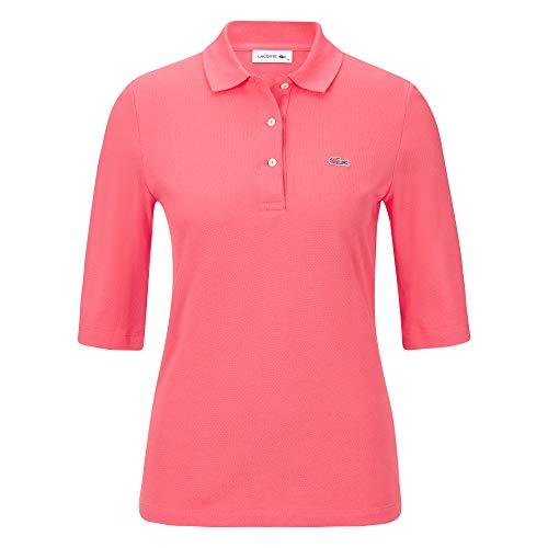 Lacoste Damen Poloshirt Kurzarm Koralle (73) 42 - Rot Gestreiftes Polo Kleid
