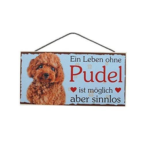 Türschild Pudel (51) aus Holz Schild Hund deutsche Herstellung