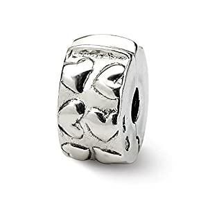 Black Bow Jewellery Company Herz mit Scharnier-Charm Sterling-Silber für 3 mm Charm-Armbänder