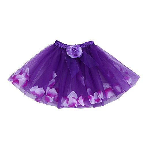 KaloryWee Girl's Organza Ruffle Tiered Tulle Tutu Bowknot Flower Ballet Skirt Princess Sparkling Party Dress-up Dancewear