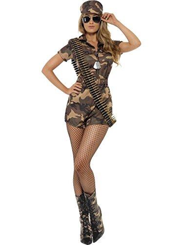Smiffys Damen Sexy Army Girl Kostüm, Kurzer Jumpsuit, Gürtel und Hut, Größe: 32-34, 28864