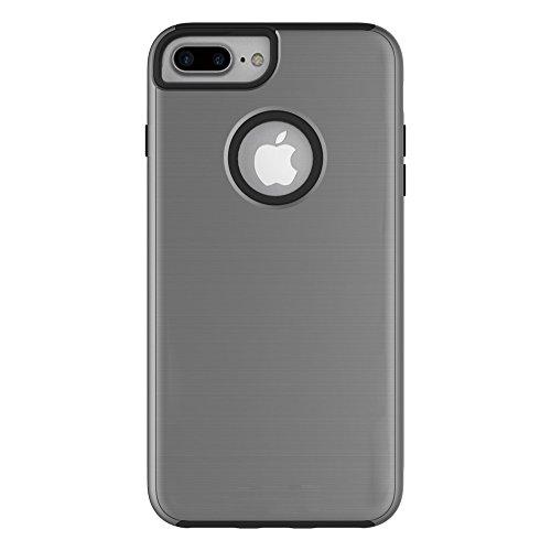EKINHUI Case Cover Für Apple IPhone 7 Plus Fall, gebürstet Metallic Finish Back Cover Dual Layer 2 In 1 Hybrid Hard PC Soft TPU Stoßdämpfer Stoßfeste Gehäuseabdeckung ( Color : Black ) Gray
