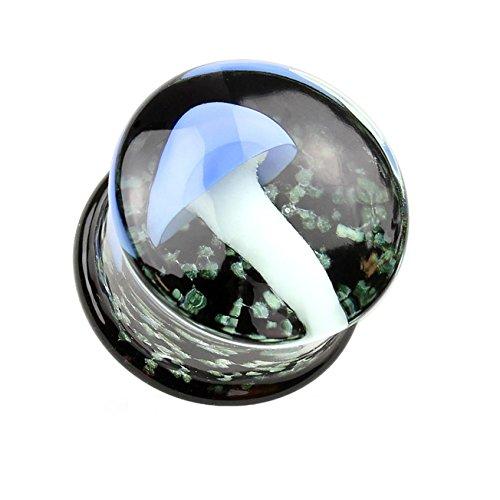 beyoutifulthings Ohr-Plug GLOW in the DARK SPARKLES Ohr-piercing Ohr-Schmuck Pyrex Glas Tunnel Sattel-verschluss Pilz Blau Schwarz 8mm (Pyrex Weihnachten)