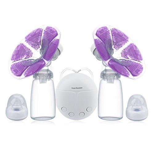 kidshome Doppel Elektrische Milchpumpe BPA-frei Hände frei USB Ladekabel und mobile Unterstützung, Pumpe (mit 2 x Kälte Wärme Pad und 2 x Schnuller)