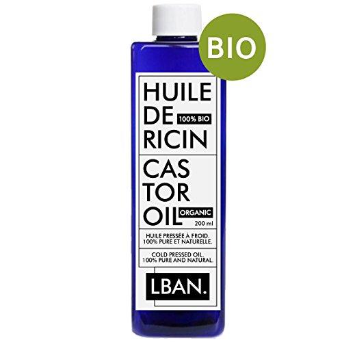 LBAN - Aceite de ricino, 100% puro, orgánico y natural,tratamiento para cabello, pestañas, uñas y piel, 200ml