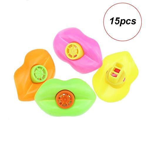 Hilai 15 Stück Lippen Pfeife für Kids Party bevorzugt Plastik-noisemakers (Farbe zufällig) -