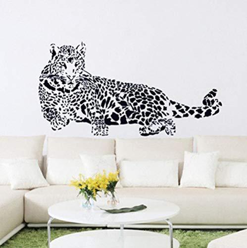 Black Cheetah (Cartoon Tier Black Cheetah Leopard Pvc Wandaufkleber 3D Abnehmbare Wandtattoos Wohnkultur Aufkleber Vinyl Kindergarten Poster)