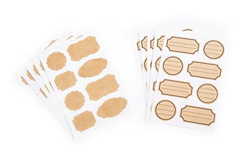 2 x 40 natur vintage braun beige neutral natur blanko KRAFTPAPIER AUFKLEBER Küchen-Etiketten Sticker für Marmeladengläser Gewürzetiketten Gläser 40 eckige: 5 x 2,7 cm u. 20 rundliche: 3,3 cm
