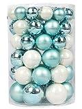 Inge-glas Kugeldose 60tlg Weihnachtskugeln Kugelbox Farben Baumschmuck Kugeln (Cool Mint, 60-Teilig)
