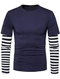 BUSIM Men's Long Sleeved Shirt Autumn Winter Casual Round Neck Solid Color Striped Stitching Sleeves Slim Fashion...