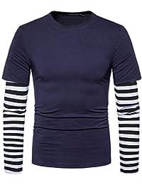 Cebbay Liquidación Camisa de Manga Larga para Hombres Camiseta Raya del Remiendo del O-Cuello Casual Moda otoño e Invierno cálido diseño Delgado Superior