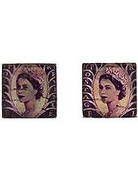 The Olivia Collection Gents Silvertone Purple Postage Stamp Cufflinks FJ1290