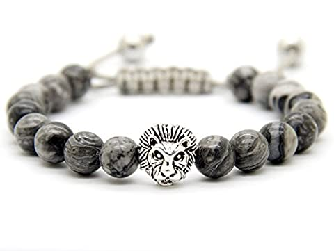 GOOD.designs Chakra Bead Lion-Bracelet made of natural grey Jasper stones, Lions-head pendant in Gold or Silver, Jewellery for Men and Women (Silver)