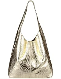 565783831c474 OBC Made IN Italy Damen Leder Hand-Tasche METALLIC Shopper Schultertasche  Hobo-Bag Henkeltasche…