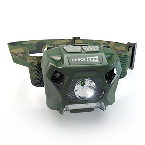 HeroBeam® Fischen-Stirnlampe - USB wiederaufladbare Stirnlampe für Fischen - Weißes und rotes Licht - Freihändiges ein-/ausschalten - Leicht, getarnt und wetterfest