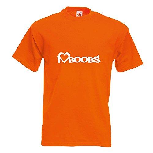 KIWISTAR - I Love Boobs T-Shirt in 15 verschiedenen Farben - Herren Funshirt bedruckt Design Sprüche Spruch Motive Oberteil Baumwolle Print Größe S M L XL XXL Orange
