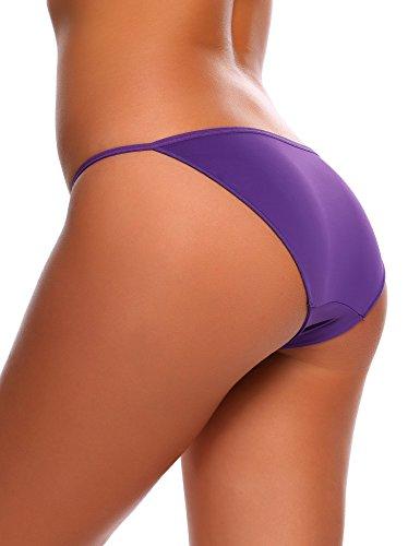 ADOME Damen Sexy String Hüftiger Slips Bikinislip Tanga Low Schnitt Unterhose Hüftslip 3er pack Lila950