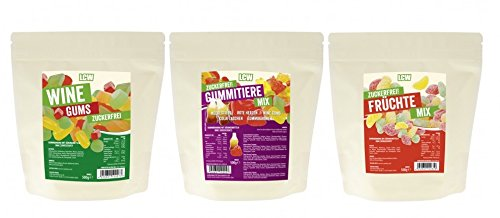 LCW - Süßigkeitenmix - zuckerfreie Fruchtgummis Probier Set - 3 Sorten (3 x 500 g)