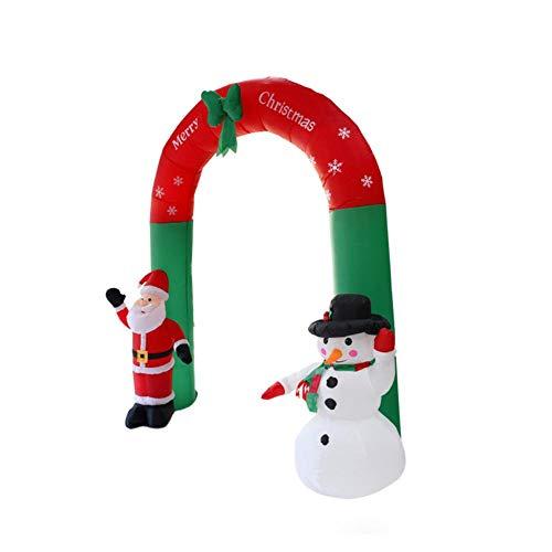 Weihnachten aufblasbare Bögen Gartendekorationen Inflatables im Freien dekorativer großer Site Layout Requisiten Weihnachtsmann Schneemann mit LED-Leuchten Polyester 94,49 Zoll