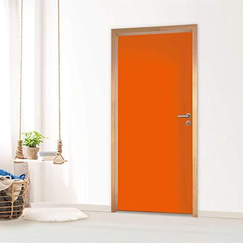 Dekoration Türe - für Tür Standardgröße Rahmeninnenseite (Größe: 83,5 x 197 cm) I Klebefolie Sticker Aufkleber Tapete kreativ einrichten dekorieren Riesen Poster Tür I Farbe Orange 1 -