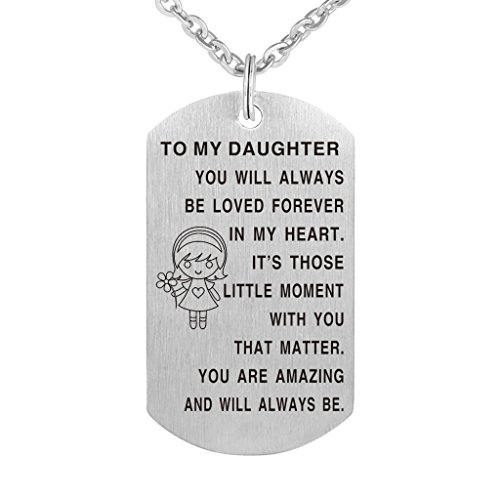 Dad Mom to Son Daughter Stainless Steel Birthday gift Stainless Waterproof That I Love You Necklace