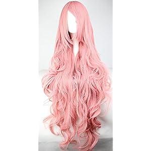 Parrucca da donna, 100cm, colore rosa, capelli ricci di alta qualità, per cosplay anime