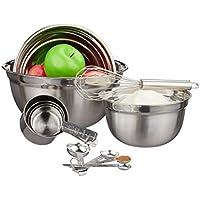 Relaxdays 10024737 Juego de 12 utensilios de cocina, 3 boles, Cucharas y vasos medidores, Batidor, Plateado, Acero inoxidable, plata