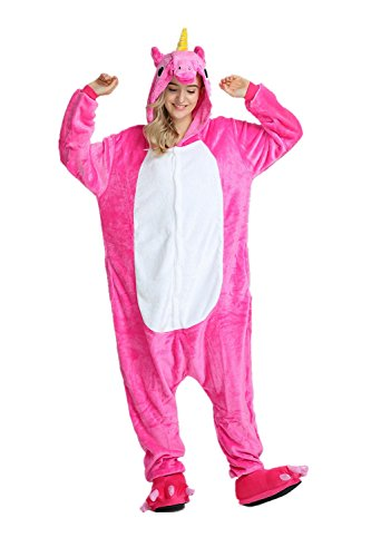 KiKa Monkey UUnicornio pijamas para Unisex Cosplay Costume Onesie adulto Anime Cartoon Party Halloween pijamas (L, Rosa) (Disfraces Para Adultos De Halloween)