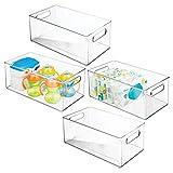 mDesign Set da 4 Organizer per Cameretta – Contenitore portaoggetti in plastica con manici – Box impilabili ideali per giocattoli, vestiti o bambole – trasparente
