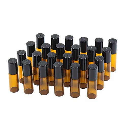 E-Greetshopping 5ml Leer Glas Roll-on Flaschen mit Edelstahl-Roller Kugeln und, 24Stück -
