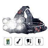 Arzopa Lampade da Testa LED USB Ricaricabile, Lampada Frontale 10000 Lumens e 4 Modalità, Super Luminosa Impermeabile Perfetta per Correre, Campeggiare, Pescare, Cacciare o Fare Escursioni