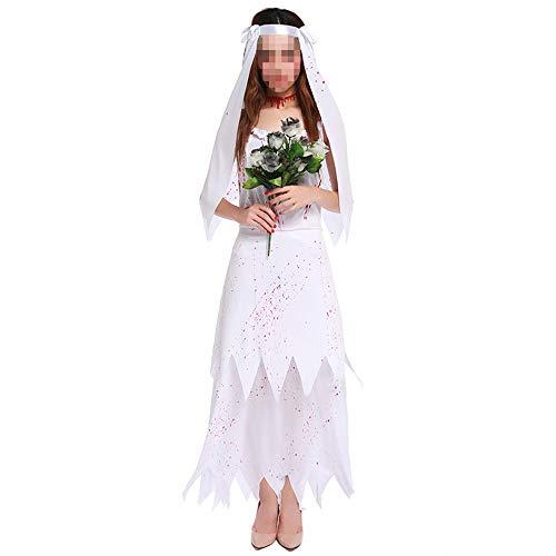 Halloween kostüm, Halloween Cosplay kostüm Halloween Cosplay Horror Kostüm,weißer Weiblicher Teufel, Alternative Persönlichkeit, Geisterbraut (Teufel Kostüm Weiblich)
