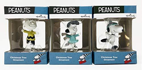 Hallmark Set mit 3 Weihnachtsbaum-Erdnuss-Ornamenten - Charlie Brown, Lucy & Snoopy Ice Skating