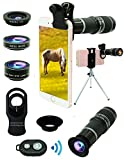 Bostiomye Cell Phone Camera Lens Kit,5 in 1 Universal 20x Zoom Telephoto,0.63x Wide