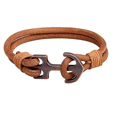 Anchor Leather Bracelet Vintage Double Layers Men Bangle Chain Clothing Accessories