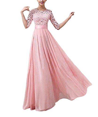 (Ghope Damen Sommer Chiffon und Spitzen Abendkleid Boho lange Maxi Partei Strand Kleid, Gr.-36, Pink)