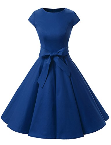 Dressystar Damen Vintage 50er Cap Sleeves Dot Einfarbig Rockabilly Swing Kleider M Royal ()
