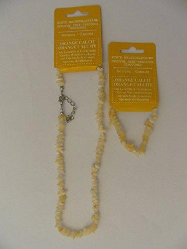 1 Kette + 1 Armband, Orange Calcit, Halbedelstein Sternzeichen Horoskop Ketten Armbänder neu