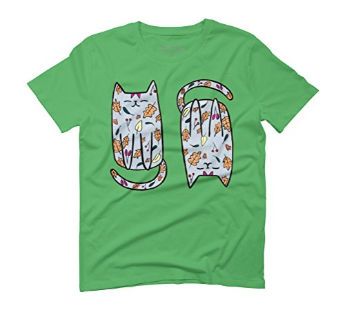 Autumn Kitty Men's Graphic T-Shirt - Design By Humans Green