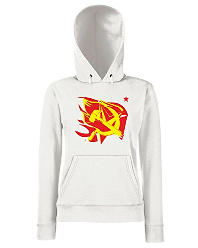 T-Shirtshock - Sweats a capuche Femme TCO0013 hammer-and-sickle-on-the-flame-star-communism-symbol Blanc