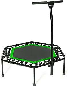 Sportplus Trampolino Elastico Fitness – Trampoline Super Jump Training - Mini Trampolino Professionale con Maniglia - Sistema a Corda Elastica - Diametro 110 cm - Peso Massimo 130 kg – Verde