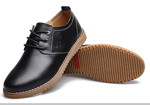 WZG chaussures en cuir décontractée de la Nouvelle-Angleterre hommes pour aider à marée basse respirant chaussures de société occasionnels Flats 9.5 , black , 42