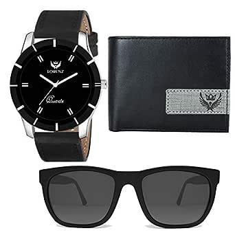 LORENZ Black Men's Watch, Black Wallet & Black Sunglasses Combo Box for Men | Combo for Boys |CM-109SN-WL-18