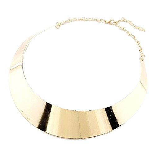 S&E Donna tono oro Collana Bib catena di metallo robusto costume collare del Choker