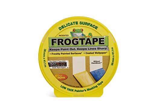 FrogTape Delicate Abklebeband - Malerkreppband mit Paint-Block Technologie - Kreppband für saubere Kanten beim Streichen & Lackieren - 36mm x 41m
