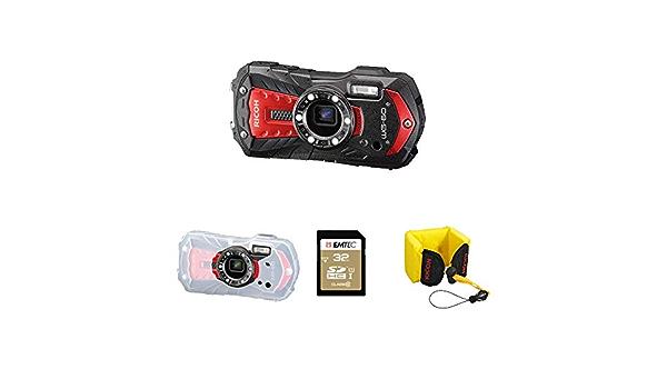 Ricoh Wg 60 Wasserdichte Digitalkamera Rot Mit Sd 32 Gb Schwimmriemen Schutzhülle 0383202 Sport Freizeit