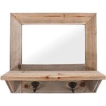 Espejo con marco de trozos de madera con ganchos–H: 33.00cm X W: 30.50cm X D: 10.50cm–colgar en la pared–2x ganchos y espejo