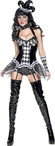 Smiffys, Damen Verruchter Harlekin Kostüm, Korsett mit Überrock, Strapse, Shorts, Hut mit Schleier, Kragen und Handschuhe, Größe: M, (Einfach Zirkus Kostüme)